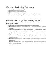 SCT 414 - Security Policies - Content of A Policy Document And Stages of Security Policy Formulation