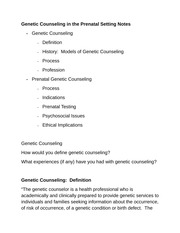 Genetic Counseling in the Prenatal Setting Notes