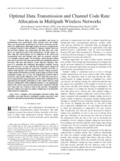 Optimal Data Transmission and Channel Code Rate Allocation in Multipath Wireless Networks