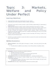 Topic 3 - Welfare Economics