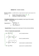 random variables notes and study guide