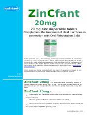Zincfant 20 Mg 2 Doc Zincfant 20mg 20 Mg Zinc Dispersible Tablets