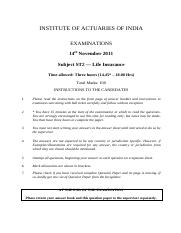 (www.entrance-exam.net)-Institute of Actuaries Of India-Subject ST1- Life Insurance Sample Paper 12.
