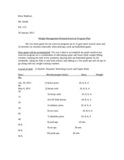 P.E.-131-(Weight Management Personal Exercise Program Plan)