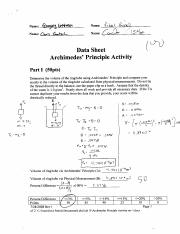 PHYS 1500 Lab Archimedes Principle