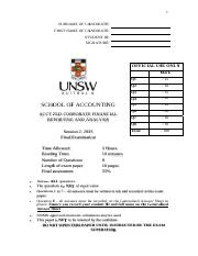 ACCT2542 Final exam with solutions for Moodle