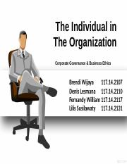The Individual in The Organization - Business Ethic