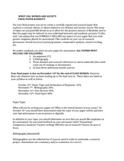 Women and Society Final Paper Handout