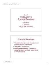 Lecture 3 on Chemical Reactions