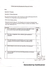 Research II Critical Appraisal Worksheet for Diagnostic Studies