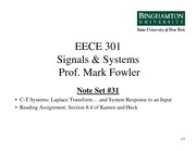 EECE 301 Note Set 31 CT LT Analysis for System Response