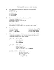 W12 Study questions and answers for Chem237L