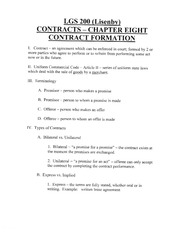 LGS 200 (Lisenby) Contracts-Chapter Eight Contract Formation