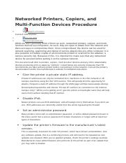 Networked Printers, Copiers, and Multi-Function Devices Procedure .docx