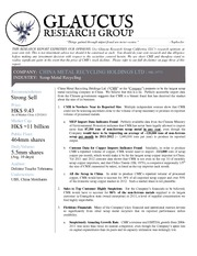 GlaucusResearch-China_Metal_Recycling_Holdings_Ltd-HK0773-Strong_Sell_January_28_2013