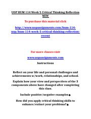 UOP HUM 114 Week 5 Critical Thinking Reflection NEW.doc