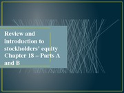 nCh18A,B - Intro to shareholders' equity