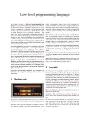 Lecture 3 - Reading - Low-level programming language
