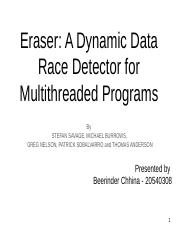 Eraser A Dynamic Data Race Detector for Multithreaded Programs