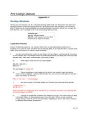 MAT 116 Week 2 Appendix C Starting a Business
