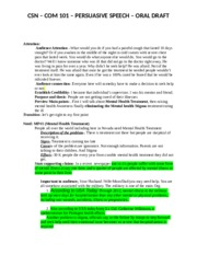 CSN – COM 101 – PERSUASIVE SPEECH – ORAL DRAFT