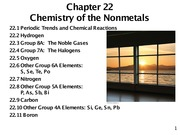 Chapter 22- Chemistry of the Nonmetals
