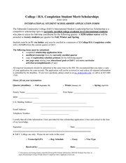 College & High School Completion Merit Application Form