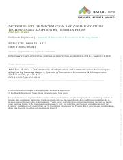 Adel Ben Khalifa - Determinants of information and communication technologies adoption by Tunisian f