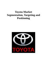 toyota segmentation targeting and positioning