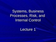 Lecture 1 Systems, AIS, Risk, and Internal Controls Student