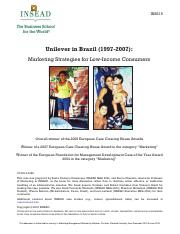 Unilever in Brazil_Marketing Strategies for Low Income Consumers