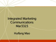 Chapter 1 Intergrated Marketing Communications MAR 3233 MAO
