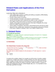 5 - Related Rates and Applications of the First Derivative