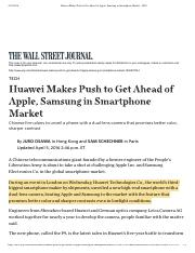 (2)Huawei Makes Push to Get Ahead of Apple, Samsung in Smartphone Market - WSJ
