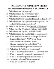 ECON 2306 TEST# 1 Preview