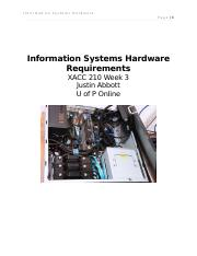 Information Systems Hardware Requirements XACC 210 Week 3.docx