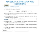 ALGEBRAIC EXPRESSION AND EQUATIONS
