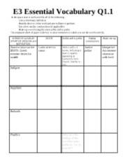 E3 Essential Vocabulary Week 5 worksheet