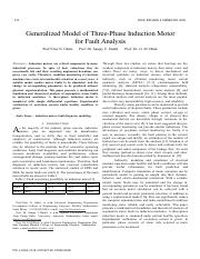 Generalized model of three-phase induction motor for fault analysis
