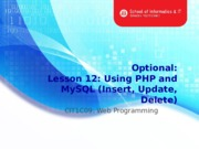 L15b Using PHP and MySQL(updating database)
