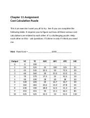 Chapter 11 Assignment