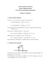 ENSC 805 Fall 2010 Assignment 1 Solutions