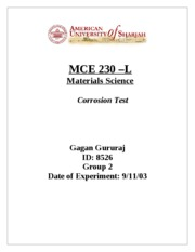 MCE 230 - Corrosion and Cathode Tests