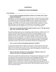 Communication Disorders Summary and Questions