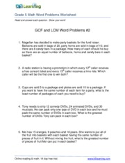 Worksheets Gcf And Lcm Word Problems Grade 4 gcf and lcm word problems 2r answersgr5 reading math at www 2 pages 2rgr5
