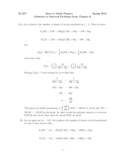 Intro to Math Finance Spring 2012 Solutions to Selected Problems from Chapter 6