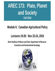 AREC 173 Lecture 19-20 Module 6 Nov 22-24 Canadian Ag Policy
