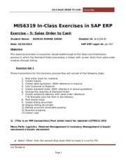 SAP Exercise 5 - Sales Order to Cash