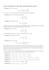 Practice Final Exam Spring 2014 on Linear Analysis