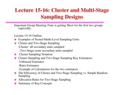 ST 432 Lecture 15-16 Cluster and Two-Stage Sampling